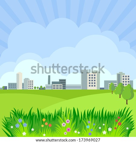 Background with the image of the landscape: the nature of the city, and clouds.  - stock vector