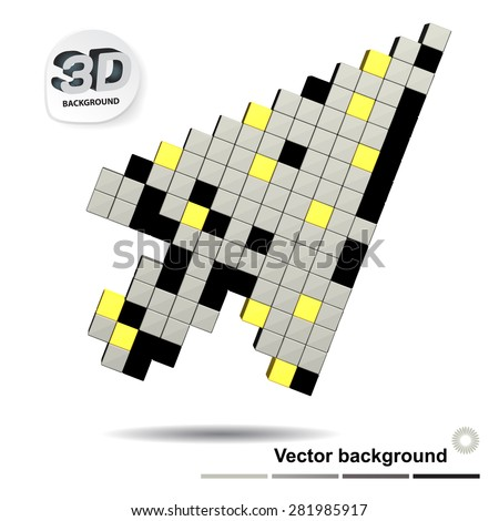 Background with three-dimensional arrow from cubes with space for text - stock vector
