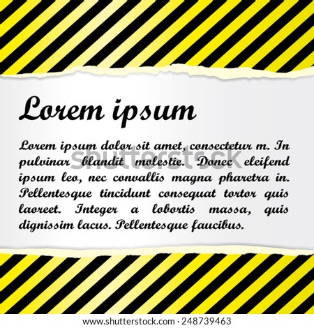 Background with torn paper and warning stripes. Universal distinct texture. Attention! Caution! Reflection. Use for sales, discounts, special offers, new offer, action label and card etc. Eps 10. - stock vector