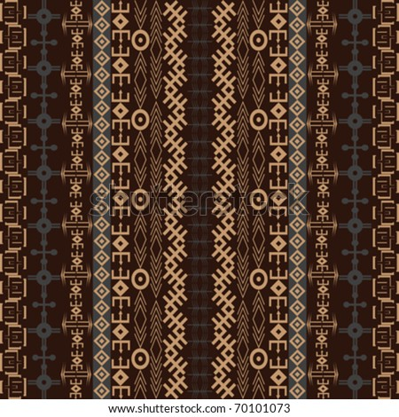 Background with traditional African design in brown tones - stock vector