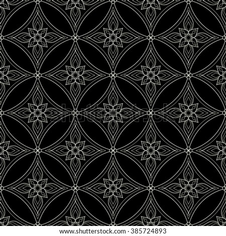 Background with traditional Arabic floral geometric pattern. Vector illustration in black and white colors. - stock vector