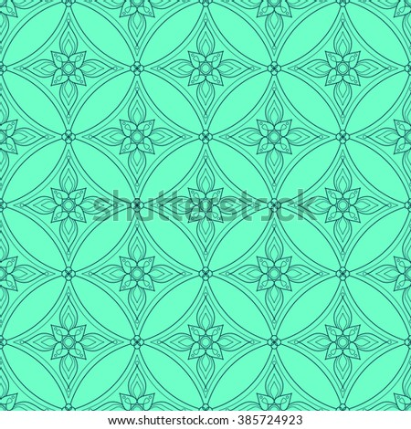 Background with traditional Arabic floral geometric pattern. Vector illustration in mint green and teal blue colors. - stock vector