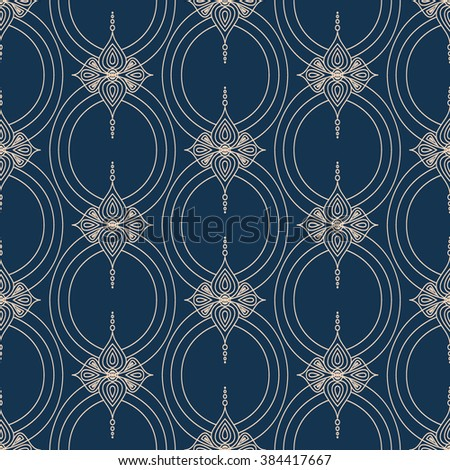 Background with traditional Arabic seamless floral geometric pattern. Vector illustration in beige and blue color. - stock vector