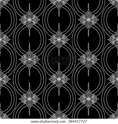 Background with traditional Arabic seamless floral geometric pattern. Vector illustration in black and white colors. - stock vector