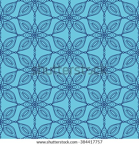 Background with traditional Arabic seamless floral geometric pattern. Vector illustration in blue colors. - stock vector