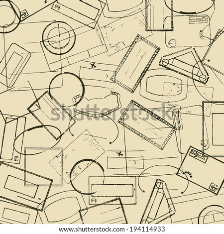 Background with travel stamps - stock vector