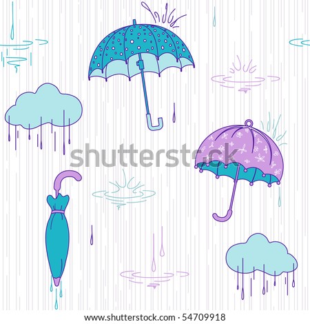 Background with umbrella, vector pattern, sea colors - stock vector