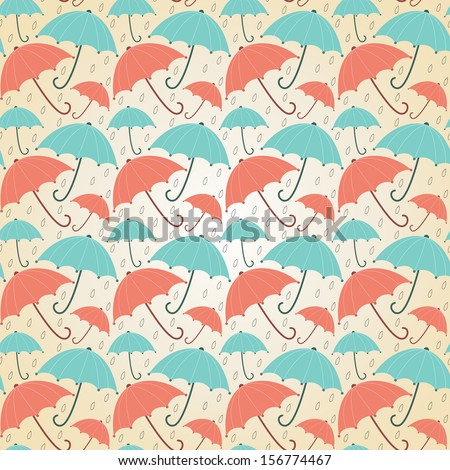 Background with umbrellas pastel. Seamless vector autumn illustration. - stock vector