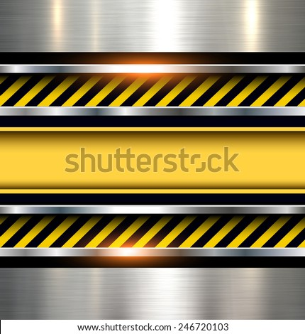 Background with warning stripes on vector metal texture. - stock vector