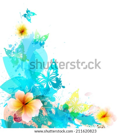 Background with watercolors amazing colorful flower and butterflies. Abstract floral elements - stock vector