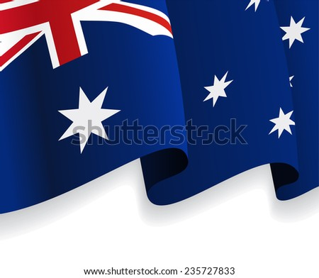 Background with waving Australian Flag. Vector illustration - stock vector