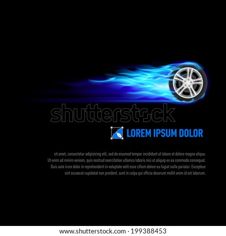 Background with wheel in blue flame for your design - stock vector