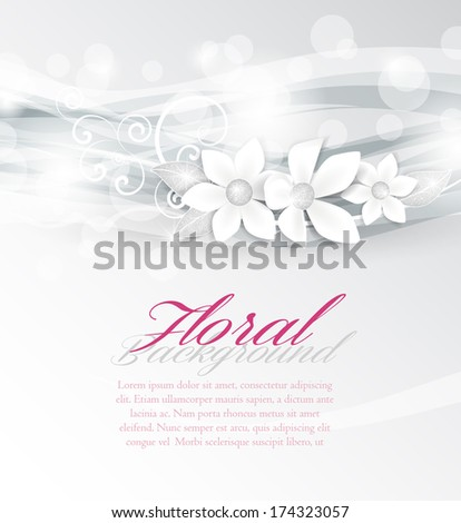 Background with white flowers and silver leaves - stock vector