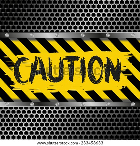 background with yellow and black caution signs  - stock vector