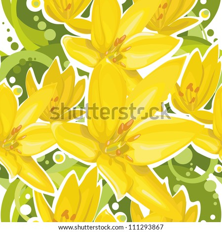 Background with yellow flowers - stock vector