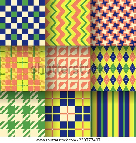Backgrounds. Seamless pattern background with green, dark blue & orange colors. Vector illustration. Pattern Swatches made with Global Colors - quick, simple editing of color - stock vector