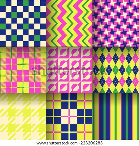 Backgrounds. Seamless pattern background with green, dark blue & pink colors. Vector illustration. Pattern Swatches made with Global Colors - quick, simple editing of color - stock vector