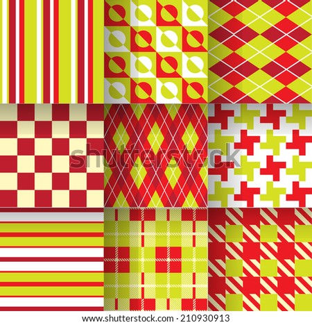 Backgrounds. Seamless pattern background with green & red colors. Vector illustration. Pattern Swatches made with Global Colors - quick, simple editing of color - stock vector