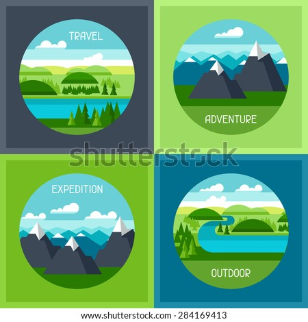 Backgrounds with illustration of mountain and river landscape. - stock vector