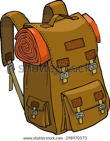 Backpack on a white background vector illustration - stock vector