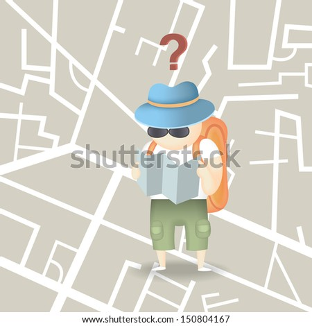 backpack tourist hold city map with a question of direction  - stock vector