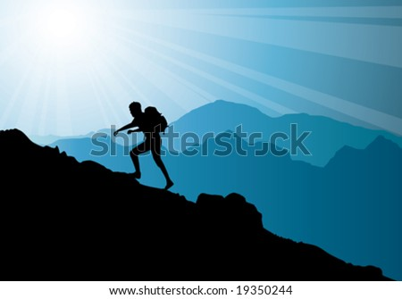 backpacker climbing on top of mountain, vector illustration - stock vector