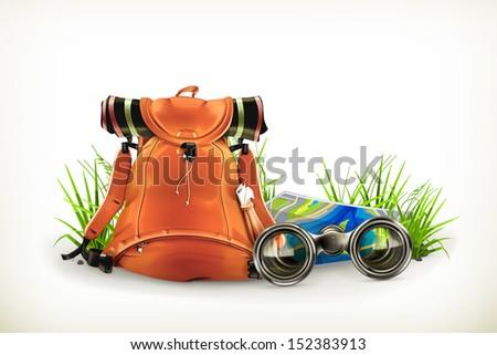 Backpacking, vector illustration - stock vector