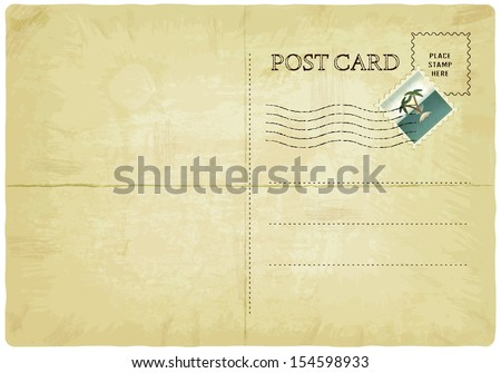 backside of old postcard with mark - vector illustration - stock vector