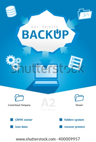Backup and recovery data. Design for Web, Mail, Brochures. Mobile, Technology, and Infographic Concept. Modern flat and line icons. SaaS, web app design template. Mobile interface - stock vector