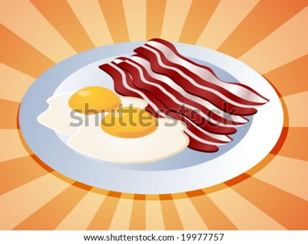 Bacon and eggs breakfast on plate  illustration - stock vector