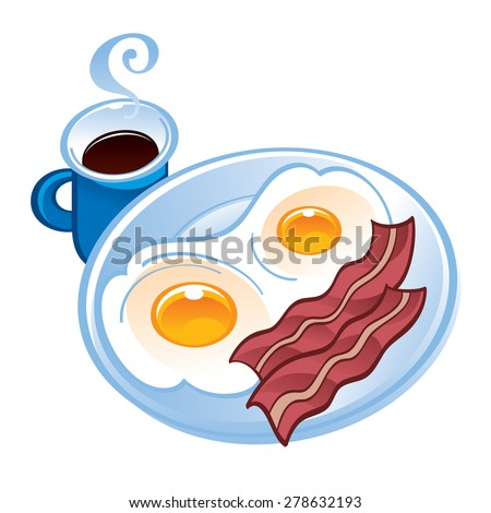 Bacon, tea and fried eggs on the plate - stock vector