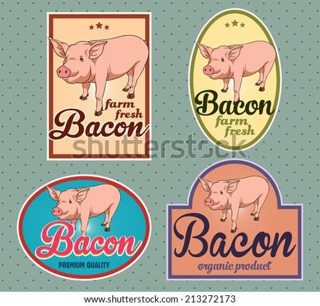 Bacon vintage labels - stock vector