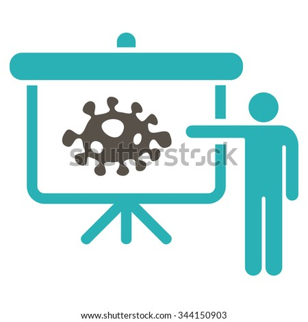 Bacteria Lecture vector icon. Style is bicolor flat symbol, grey and cyan colors, rounded angles, white background. - stock vector