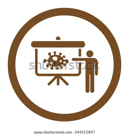 Bacteria Lecture vector icon. Style is flat rounded symbol, brown color, rounded angles, white background. - stock vector