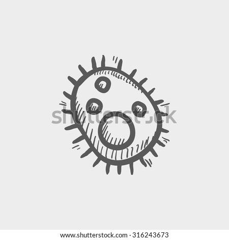 Bacteria sketch icon for web, mobile and infographics. Hand drawn vector dark grey icon isolated on light grey background. - stock vector