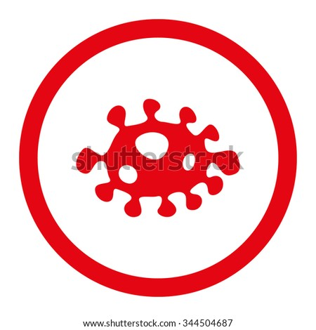 Bacteria vector icon. Style is flat rounded symbol, intensive red color, rounded angles, white background. - stock vector