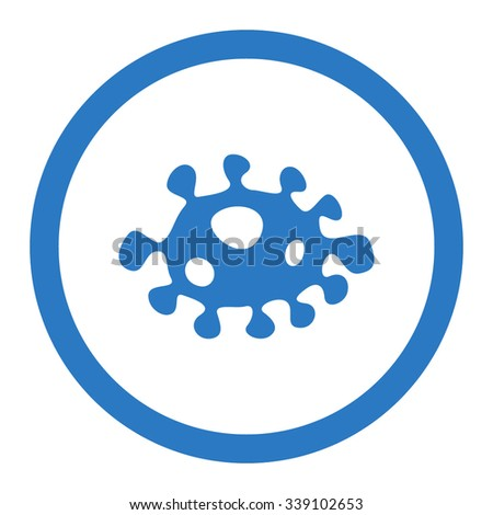 Bacteria vector icon. Style is flat rounded symbol, smooth blue color, rounded angles, white background. - stock vector