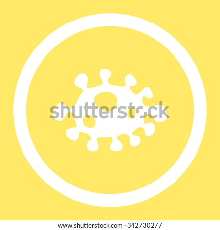 Bacteria vector icon. Style is flat rounded symbol, white color, rounded angles, yellow background. - stock vector