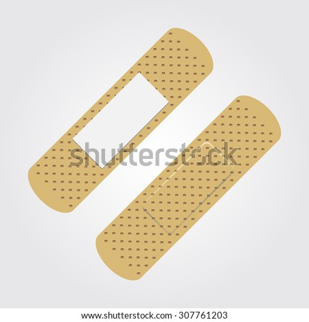 Bactericidal plaster brown color. The view from both sides. Vector Image. Realistically. - stock vector