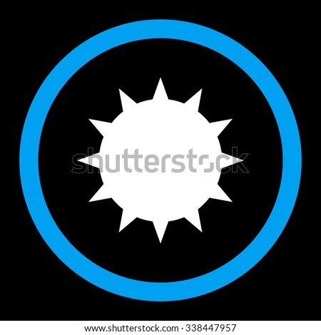 Bacterium vector icon. Style is bicolor flat rounded symbol, blue and white colors, rounded angles, black background. - stock vector