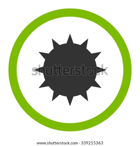 Bacterium vector icon. Style is bicolor flat rounded symbol, eco green and gray colors, rounded angles, white background. - stock vector