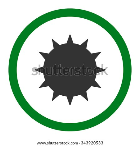 Bacterium vector icon. Style is bicolor flat rounded symbol, green and gray colors, rounded angles, white background. - stock vector