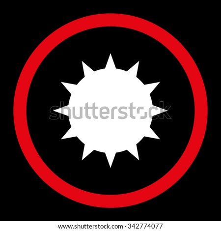 Bacterium vector icon. Style is bicolor flat rounded symbol, red and white colors, rounded angles, black background. - stock vector