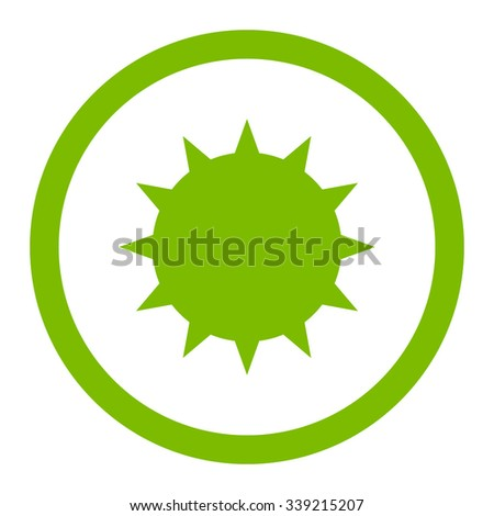Bacterium vector icon. Style is flat rounded symbol, eco green color, rounded angles, white background. - stock vector