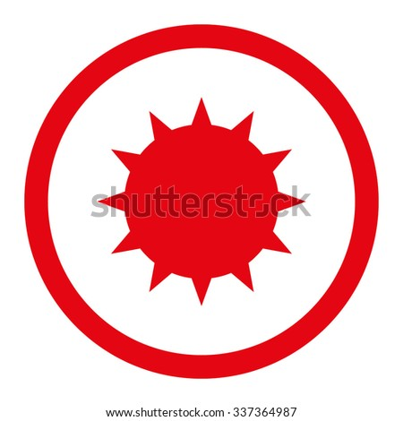 Bacterium vector icon. Style is flat rounded symbol, red color, rounded angles, white background. - stock vector