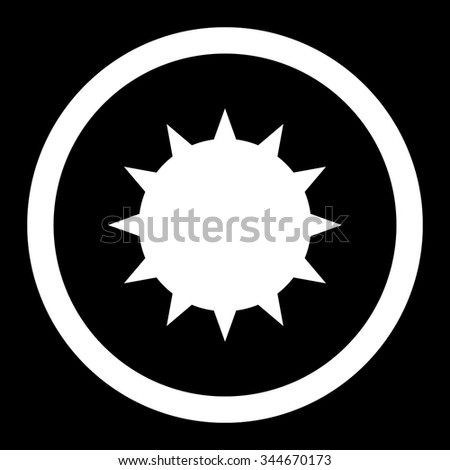 Bacterium vector icon. Style is flat rounded symbol, white color, rounded angles, black background. - stock vector