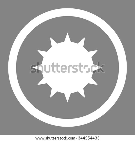 Bacterium vector icon. Style is flat rounded symbol, white color, rounded angles, gray background. - stock vector