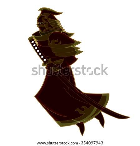 Bad Ass Samurai Master with Golden Outfit Flying Cartoon Vector - stock vector