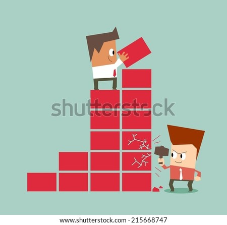 Bad competition between employee. Flat vector illustration - stock vector