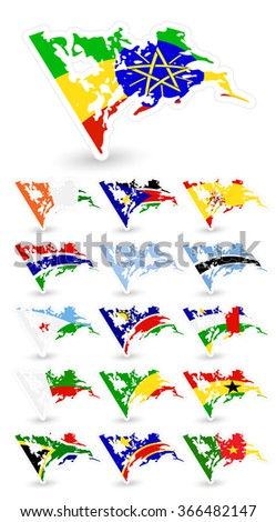 Bad condition flags of Africa 2.All elements are separated in editable layers clearly labeled. - stock vector